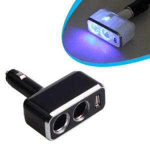 Carro Auto Carregador de isqueiro de sockets duplos e 1 porta USB