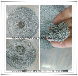 Amontonamiento irregular de partículas de arena de gato bentonita activa