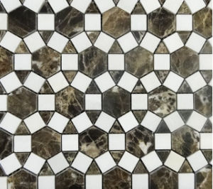 De donkere Marmeren Tegel van de Steen van de Mozaïeken van de Zonnebloem Emperador&Thassos Natuurlijke