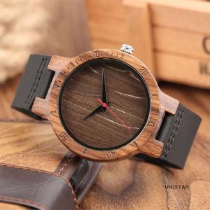 Reloj de madera de bambú de los hombres de la banda de cuero genuino diseño exclusivo de cuarzo Relojes mujer moderna creativa Negocio Regalo reloj de madera -213