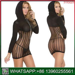 Bonne qualité prix bon marché sous-vêtements de femmes noires avec chapeau