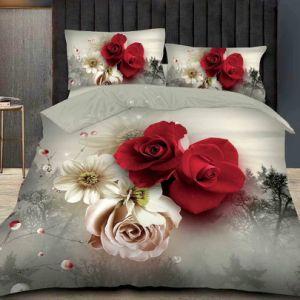 Flower Impresso Lençol cobrir, cama King size com roupa de cama em 3D Bedsheet Definido