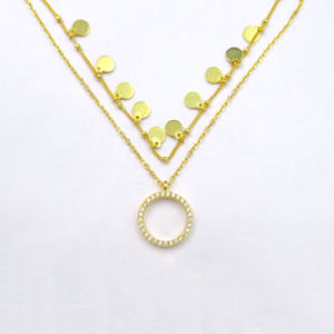 Luxo Zircon 14K banhado a ouro Colar pendente com Redondo e pouco Design Item 925 jóias de prata