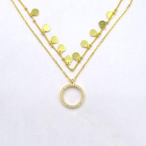 Le zircon or 14K plaqué de Luxe Collier Pendentif avec de forme ronde et peu de la conception de l'élément 925 Bijoux en argent