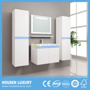 Casa de banho moderna vaidades com 2 compartimentos laterais e LED azul HS-M1118-600