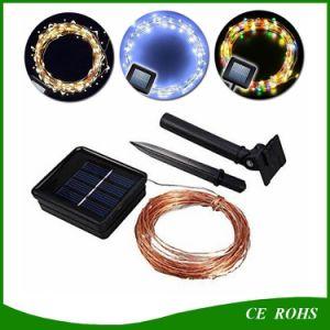 Zeichenkette 100 LED-beleuchtet die im Freien kupferner Draht-Solarlampen-LED feenhafter Feiertags-Weihnachtsfest-Solargarten-wasserdichte Lichter