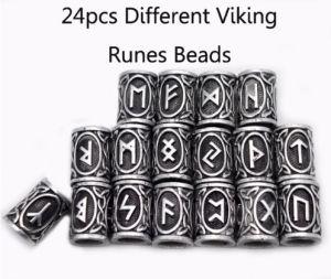 24PCS毛のひげVikingはブレスレットの吊り下げ式の首の宝石類のための旧式な銀のビードの調査結果を魅了する