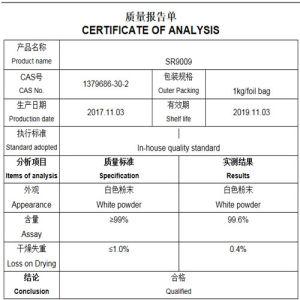 99% Reinheit Sarms Sr9009 Puder Sr-9009 137986-29-9 für Bodybuilding-Verbesserung