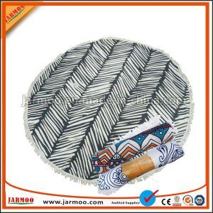 ふさが付いている熱い販売Microfiberによって印刷されるパターン円形のビーチタオル