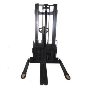 3000lbs Straddle apilador eléctrico completo con horquillas ajustables