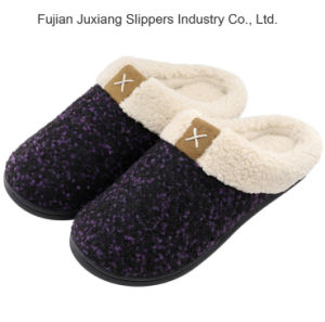 Women's cosy mousse à mémoire de peluche Wool-Like pantoufles Fuzzy fleece lined Chambre chaussures