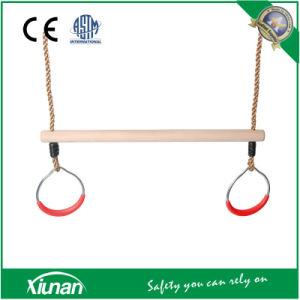 De houten Staaf van de Trapeze van Kinderen Gymnastiek- die voor Schommeling met Ringen voor Binnen en OpenluchtGebruik wordt geplaatst