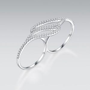 De populaire Zilveren Ring van Twee Vinger 925 met Kubieke Zircon