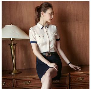 Nuova signora alla moda Formal Office Shirt del tessuto di miscela di disegno