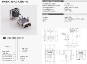 Угол наклона (Mini USB OTG) Mini-B женского