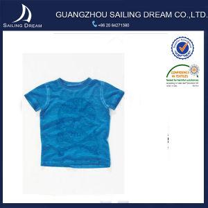 Maglietta rotonda di disegno di modo dei manicotti 2015 di Short del collare dell'azzurro di marina