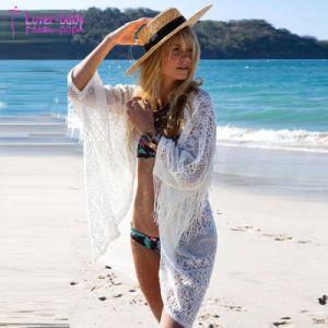 Nouvelle mode plage bordée de dentelle Chiffon femmes Cardigan