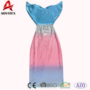Высокое качество цвета градиента пайетками фланелевая подкладка из флиса Русалки хвост офсетного полотна