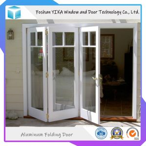 Calidad asegurada de cristal templado doble salto térmico de aluminio puerta Bifolding