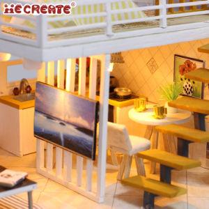 Regalo al por menor de los niños la casa de muñecas de madera en miniatura de Dollhouse Villa