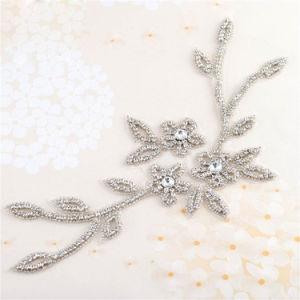 スライバ水晶花のラインストーンのアップリケでハンドメイドに縫うこと