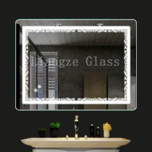 Fronteira de padrão de casa de banho com espelho iluminado música Bluetooth