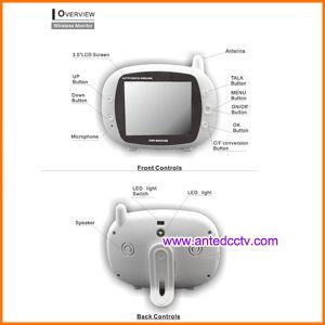 3.5 pulgadas LCD vigilabebés digital inalámbrica con detección de temperatura y reproductor de música