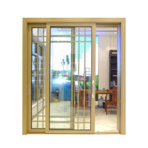 Porte coulissante en aluminium/Diapositive 2 panneaux/trois pistes Profil/Diapositive en aluminium/vitrage trempé/poignée noire/patio/Swing/Porte pliante