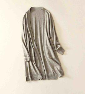 100%Cashmereカーディガンの女性はジャケットのセーターのオーバーコートを編んだ