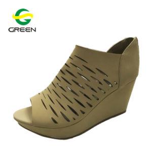 Mesdames plate-forme de filtres en coin haut talon chaussures sandales femmes broderie Denim