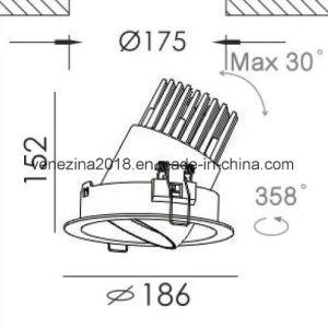 LED ajustável 20W/25W/30W/40W em alumínio comercial LED rebaixada luz descendente no local