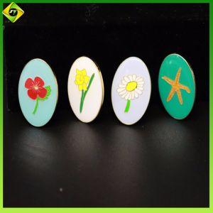 熱販売の花の柔らかいエナメルの楕円形の折りえりPin