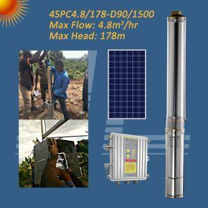 4 pulgadas 2HP 1500W de la bomba de agua solar, pozo profundo bomba, bomba de pozo con MPPT controlador