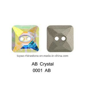De vierkante Vorm naait op Knoop van de Stenen van Bergkristallen de Buitensporige voor de Decoratie van Kleren (Vierkant 14*14mm)