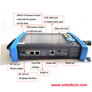 Fachmann 7  Onvif Multifunktions-Kamera CCTV-Prüfvorrichtung IP-SDI Tvi Cvi Ahd mit Poe