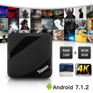 Fernsehapparat-Kasten S905W 1GB RAM/8GB DER STÜTZE-Tx3 lud androides intelligentes ROM Kodi voll, Support 4K HD, WiFi