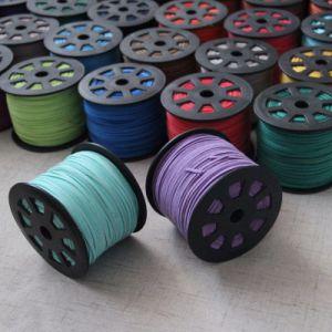 다채로운 가죽 코드 연약한 스웨드 레이스 편평한 밧줄 스레드 끈 기술