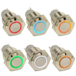 力12V Spst LED Latching 16mm Metal Push Button Switch