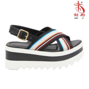 2018 été Ladies tissu coloré PU et les femmes sandale Shoe (PSA 013)