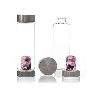 Cristal claro Frasco de vidrio de botella de agua de beber té botella