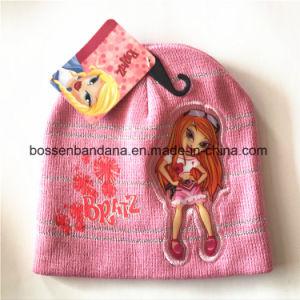 工場農産物はアップリケのピンクのアクリルの子供によって編まれた冬の袖口の帽子の帽子をカスタマイズした
