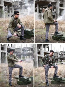 Green Outdoor Multi-Pockets Wear-Resistant militaires de combat Pantalon de conception Double-Knee