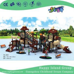 De openlucht Apparatuur van de Speelplaats van het Dak van Kinderen Plantaardige met Cilindrische Dia (Hg-9301)