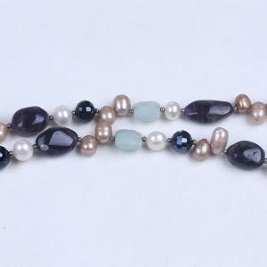 Аметист камень микросхемы пресноводных Pearl рельефная ожерелья украшения для женщин