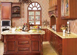 Apartamento Estilo americano de armários de cozinha móveis de cozinha em madeira maciça