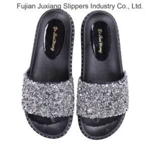 Женские Flip флоп пайетками слайды сандалии плоские пробуксовки колес на обувь