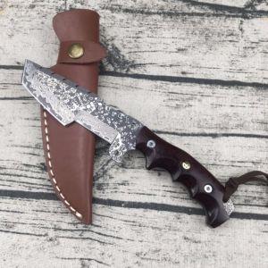 Elevada dureza Cuchilla de acero de Damasco cuchillo artesanal directamente la cuchilla de caza