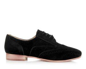 Les femmes en noir Kid daim Cut-out a fait de la TOE Mesdames de la mode des chaussures plates