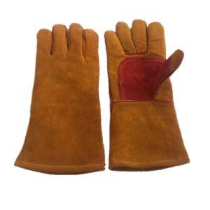 Желтый цвет верблюде кожаные перчатки сварки термостойкое защитное аргон сварка стороны перчатки ММА МИГ перчатки сваркой