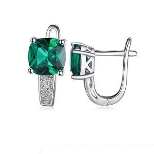 Мода 925 серебристые украшения Emerald Earring с замка на английском языке для женщин